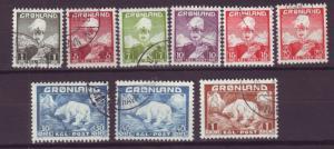 J16571  JLstamps 1938-46 greenland set used #1-9 polar bear, christian x