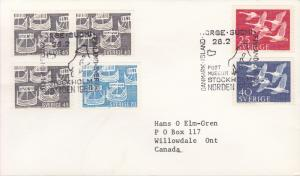 Sweden 1969 FDC Norden Boats Norden Day Combination with Swans of 1956