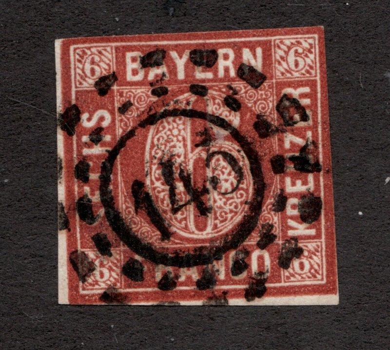 Sc#5 // SG11 - Bavaria Germany - 1850  - Used -  VG/F -  superfleas -