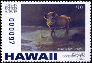 HAWAII #21  2018 STATE CONSERVATION STAMP BOAR by James E. Basham