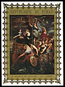 Chad 233S, MNH, King Louis XIII souvenir sheet, Rubens painting