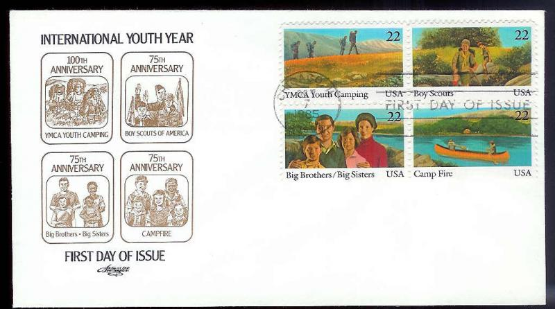 UNITED STATES FDC 22¢ Int'l Youth Year 1985 Artmaster block