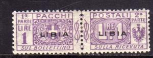 LIBIA 1915 - 1924 PACCHI POSTALI PARCEL POST LIRE 1 LIRA MH