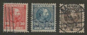 Denmark #65, 66, 67 > Issues of 1904-05 > Used > SCV $11.65