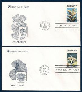 UNITED STATES FDCs (4) 15¢ Coral Reefs 1980 Readers Digest