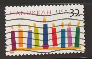 US #3118 Used F/VF - Hanukkah 1996 32c