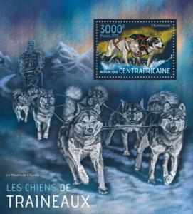 Central Africa Sled Dogs On Stamps Stamp Souvenir Sheet 2013 3H-616