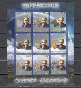 Congo Rep., 2008 issue. Albert Einstein & Minerals, IMPERF sheet of 9. ^