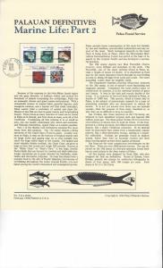 Palau Definitives Panel, Marine Life Part 2, FDC 1984