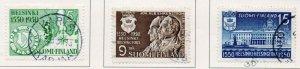 Finland Sc 297-99 1950 400th Anniversary Helsinki stamp set used