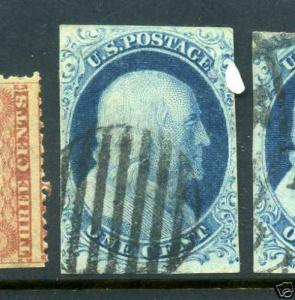 Scott #7 Franklin Imperf Used Stamp (Stock #7-11)