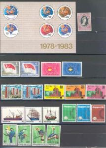 SINGAPORE LOT OF STAMPS AND SOUVENIR SHEETS  MINT NH AS  SHOWN