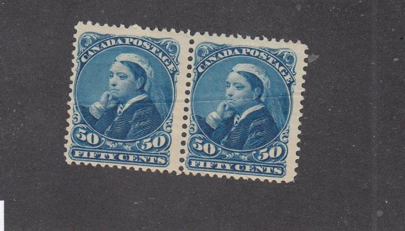 CANADA # 47 FVF-MNH PAIR 50cts WIDOWS(Creased) CAT VALUE $1500