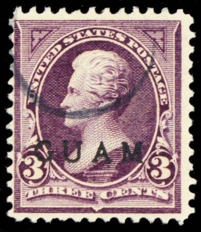 Guam #3, Used 3¢ Stamp In Purple Cat $175.00 - Stuart Katz