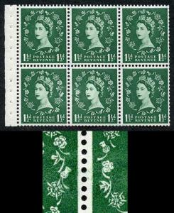 SB62e 1 1/2d Wmk Edward Upright with Major Re-touch Booklet Pane of 6 U/M