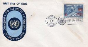 Philippines 1959 Sc#806 U.P.U.MONUMENT BERN ovpt.United Nations day (1) FDC