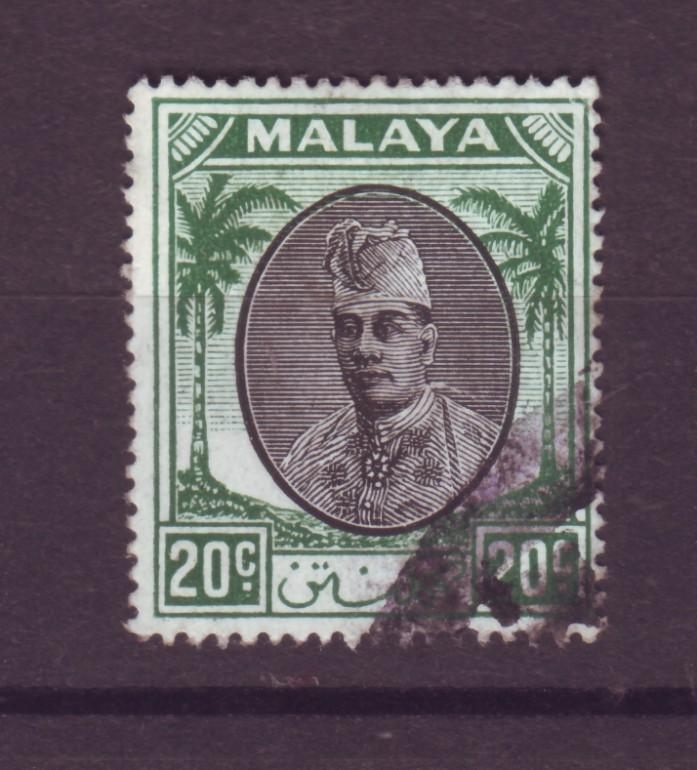J17937 JLstamps [low price] 1951 malaya kelantan used #58 sultan wmk4 $15.00 scv