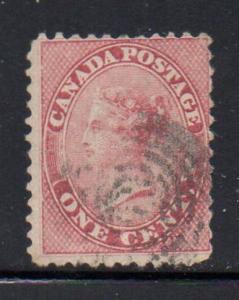 Canada Sc 14 1859 1 cent rose Victoria stamp used