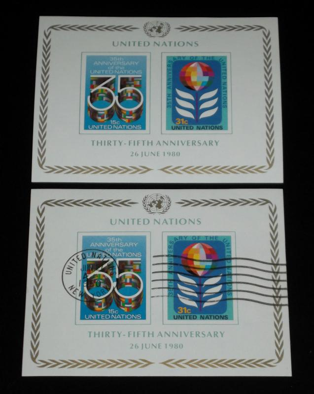 U.N.NEW YORK #324, 1980, 35th ANNIVERSARY SOUVENIR SHEETS, MNH & CTO NICE! LQQK!