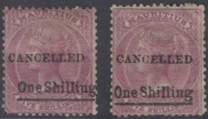 BC MAURITIUS 1876-77 Sc 49 & 49a TOP VLAUES OVPTD CANCELLED UNUSED SCV$110.00