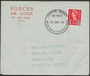 GB 1969 forces airletter BFPO 1105 LONDON - SYDNEY air race cancel.........48973