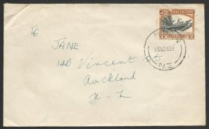 NIUE 1945 commercial cover to NZ - 2d single franking......................51658