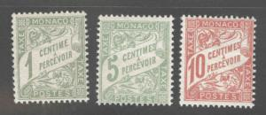 MONACO Scott J1-J3 MH* postage dues good start to a great set