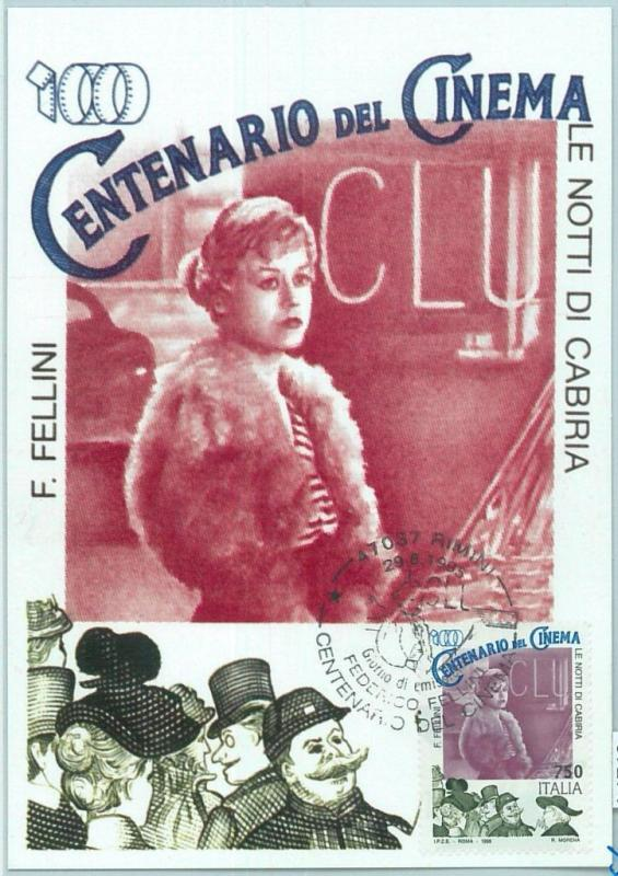 67274 - ITALY  - Postal History -  MAXIMUM CARD  - CINEMA 1995  Fellini