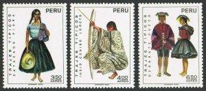 Peru C344,C345,C347,MNH.Michel 872-874. Regional costumes,set 1,09.29.1972.