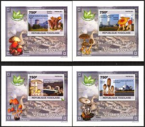 {{083} Togo 2011 Radioactive effects on Mushrooms 4 S/S Deluxe MNH**