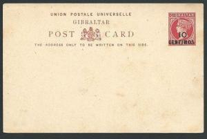 GIBRALTAR QV 10/CENTIMOS on 1d postcard fine unused........................45685