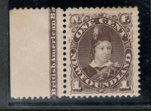 Newfoundland #43 Very Fine Mint Original Gum Hinged Imprint Margin Copy