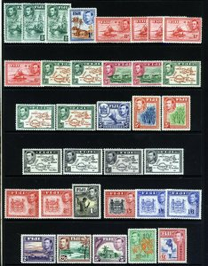 FIJI 1938-55 King George VI The Complete Pictorial Set SG 249 to SG 266b MINT