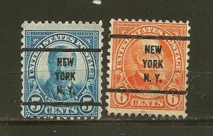 USA 557-558 New York NY Precancels Used