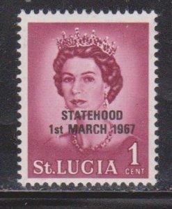ST LUCIA Scott # 182 MH - Overprinted Statehood 1st March 1967 Black OP