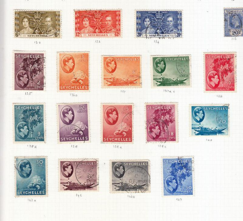 SEYCHELLES GEORGE 6TH VALUES/SETS USED SG132 TO SG162