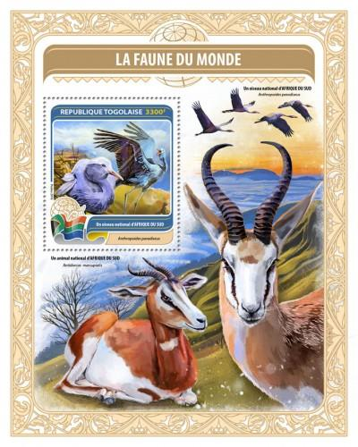 TOGO - 2016 - National Bird of Central African Rep - Perf Souv Sheet - MNH