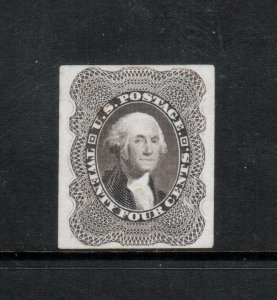 USA #37PS Extra fine Proof On Stamp Paper Unused (No Gum) **With Certificate**