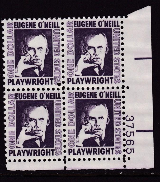 United States 1965  $1. Eugene O'Neill Plate Number Block  VF/NH