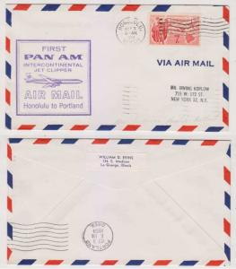USA 1959 FF COVER HONOLULU-PORTLAND BY PAA AAMC J268 WITH RECEIVER VF