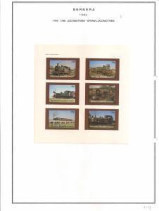 SCOTLAND - BERNERA - 1982 - Locomotives (9) - 6v Imperf Sheet - MLH
