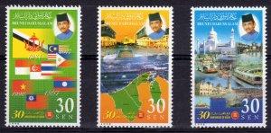 Brunei 1998 Sc#526/528 ASEAN 30th.Anniversary-Flags-TRAIN  Set (3) MNH