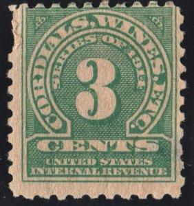 RE21 3¢ Cordials, Wines. Etc. Stamp (1914) MH