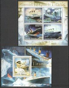 BC638 2011 GUINEA-BISSAU TRANSPORT SHIPS CENTENARY TRAGEDY TITANIC BL+KB MNH