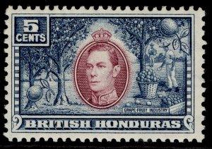 BRITISH HONDURAS GVI SG154, 5c mauve & dull blue, LH MINT.