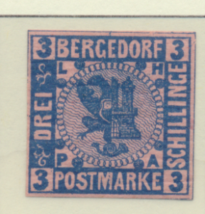 Bergedorf (German State) Stamp Scott #4, Mint Hinged, Original Crackled Gum -...