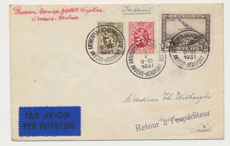 Belgium To Malmo Sweden First Flight Cover Returned 1fr85 Rate See Below