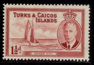 TURKS & CAICOS ISLANDS GVI SG223, 1½d deep carmine, M MINT.