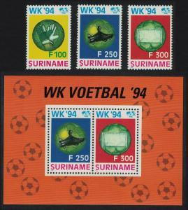 Suriname World Cup Football Championship USA 3v+MS SG#1590-MS1593