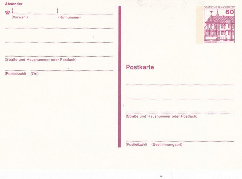 West Germany 60pfg Schloss Rehydt Prepaid Postcard Unused VGC